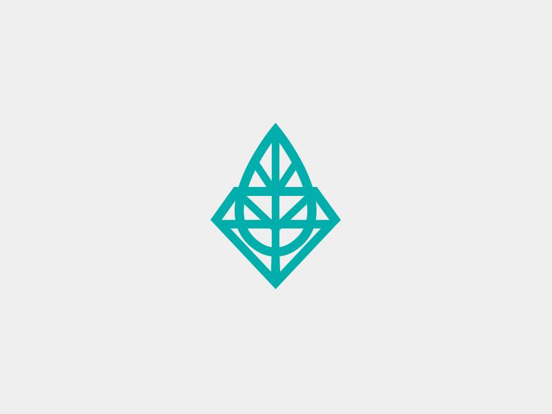 Sustainable Mining Brand Mark icon brand mark logo identity logo mark diamond leaf sustainability mining
