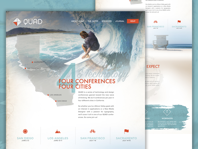 QUAD Design Conference Homepage icons ui responsive texture surf ocean landing page home conference design