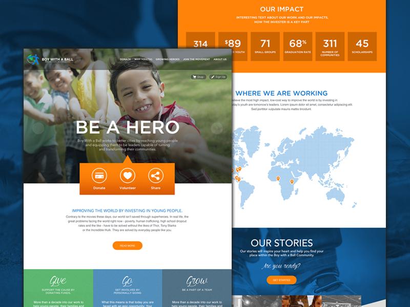 Non Profit Website Design layout ui missions water kids not for profit icons landing page design homepage web nonprofit