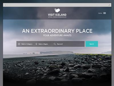 Visit Iceland redesign homepage search clean ui landing page website web mockup tourism visit iceland