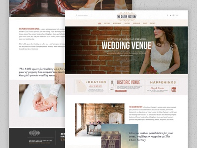 The Chair Factory elegant vintage wedding website landing page homepage web design ui