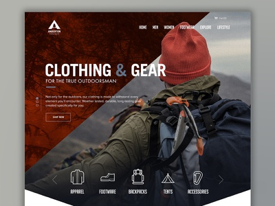 Outdoor Apparel Home clothing icons layout web responsive desktop home ui ecommerce apparel outdoors homepage