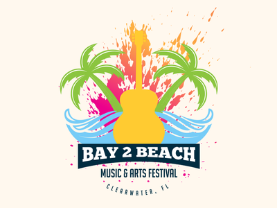 Bay 2 Beach Music & Arts Festival palm emblem festival wave mark arts branding logo beach florida clearwater
