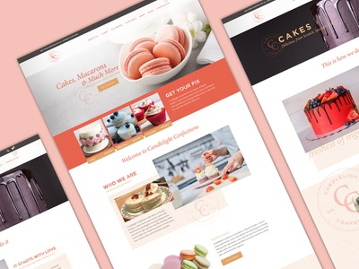 Candlelight Confections Web layout identity homepage branding web ux ui home page landing page baking brand design responsive design webdesign website