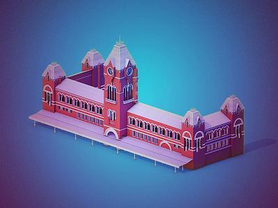 Chennai Central Railway Station animation 3d lighting render c4d central madras chennai