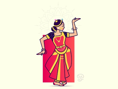 Bharatanatyam india dancer tradition saree jewelry style dance bharatanatyam ai illustration