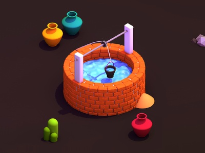 O - 36 days of type orange illustrator icon design creative flat isometric 3d illustration water c4d