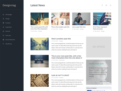 Simple Web Magazine Layout simple clean minimal website blog magazine navigation posts widgets theme template layout
