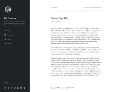 Personal Website Skeleton personal website wordpress blog sidebar simple minimal clean typography navigation page blueprint