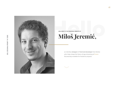 Personal Website - Welcome Screen layout photo white black website personal minimal simple typography welcome