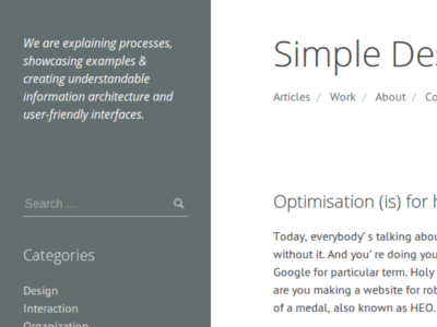 Simple Design simple design minimal website wordpress theme whitespace clean navigation search sidebar widgets blog journal
