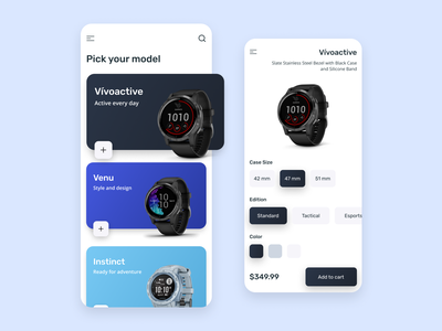 Garmin Watch Shop - Mobile App Design watch garmin mobile shop minimal sport smartwatch product app ui mobile ui mobile app design mobile app mobile ecommerce