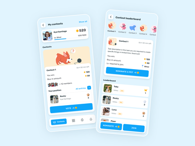 Puppy - Mobile App Design for Social Shopping uiux game social social app illustration contest pet puppy dog product interface design mobile app ux ui gamification shopping app mobile
