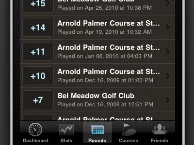 Golf Trac: iPhone Rounds List golftrac iphone ios golf