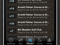 Golf Trac: iPhone Rounds List