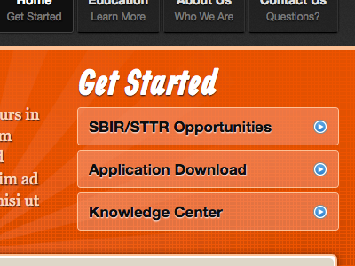 Blazed orange menu links