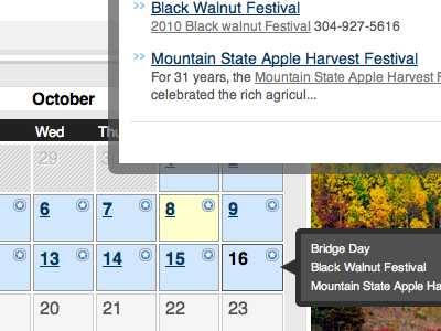 WV Encyclopedia Calendar calendar popups hover