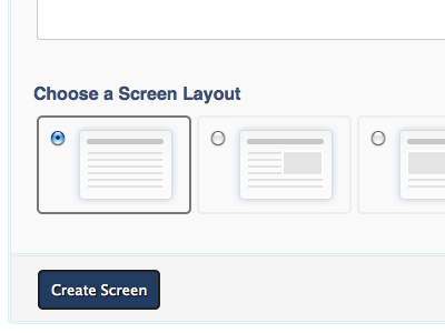 Content Builder: Screen Layout options radiobuttons form