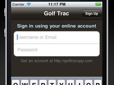 Golf Trac: iPhone Login golf golftrac iphone ios login form