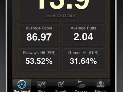Golf Trac: iPhone Dashboard golftrac iphone ios dashboard
