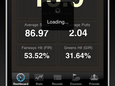 Golf Trac: iPhone Dashboard (updated) golftrac iphone ios dashboard loading