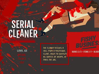 uiforgames SERIAL CLEANER menu flat animation game app ux design illustration game art ui concept art