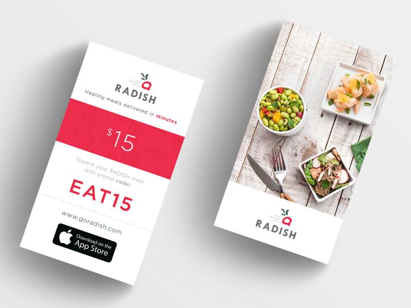 Radish Promo Card  vertical card design tech startup strategy ux product design ui promo card