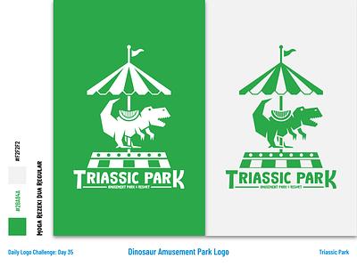 Triassic Park - Amusement Park Logo and Branding dinos jurrasic park park triassic carousel dinosaurs dino dinosaur typography art illustration flat dailylogochallenge vector logo branding illustrator design