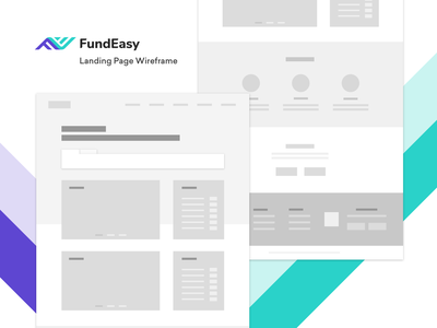 FundEasy Landing Page Wireframe minimal webdesign fintech blue purple mockup wireframe page landing