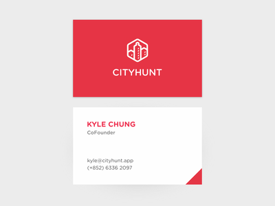 CityHunt Business Card Design branding logo product design print clean minimal white red card business