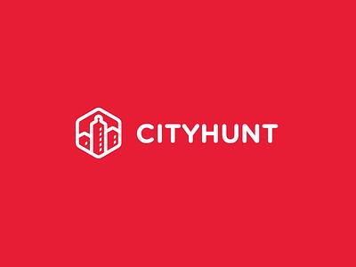 CityHunt Branding simple brand identity logo startup white red branding
