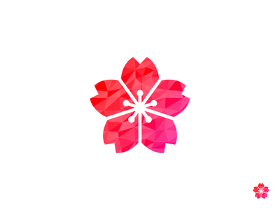 Logo for Student Club student club clean flower pink gradient branding japan red logo
