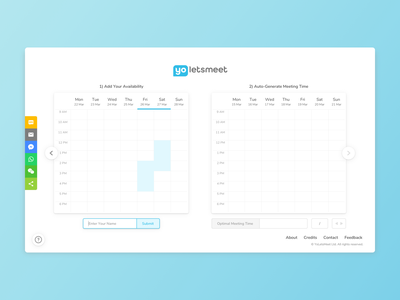 YoLetsMeet - Web UI #2 clean aqua white blue app webdesign ui web scheduler meetup student