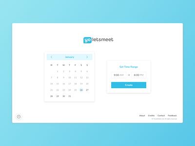 YoLetsMeet - Web UI #1 clean calendar simple white blue web ui app meeting meetup scheduler