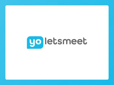 YoLetsMeet Branding identity bubble design student scheduler meetup blue white yo chat minimal simple logo branding
