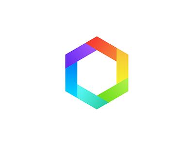 First Attempt in Logo Design minimal rainbow colors symbol shape hexagon gradient mark identity logo
