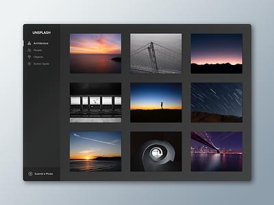 Unsplash Concept ui interface platform black photo simple clean minimal dark web unsplash concept