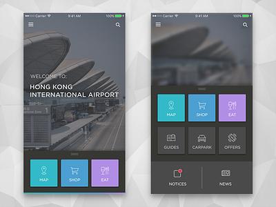 HK Airport App [Concept] ui interface hk airport black dark simple ios clean app concept