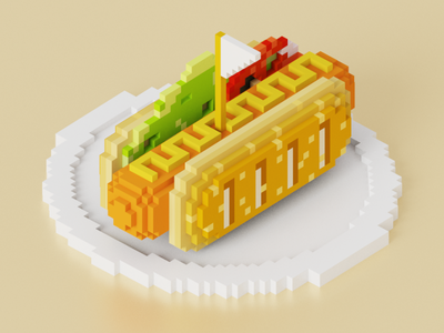 Sausage voxel art breakfast food hotdog sausage