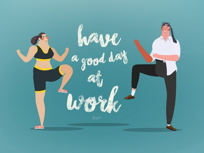 Have a good day at work strain crazy relax workout exercise work women man