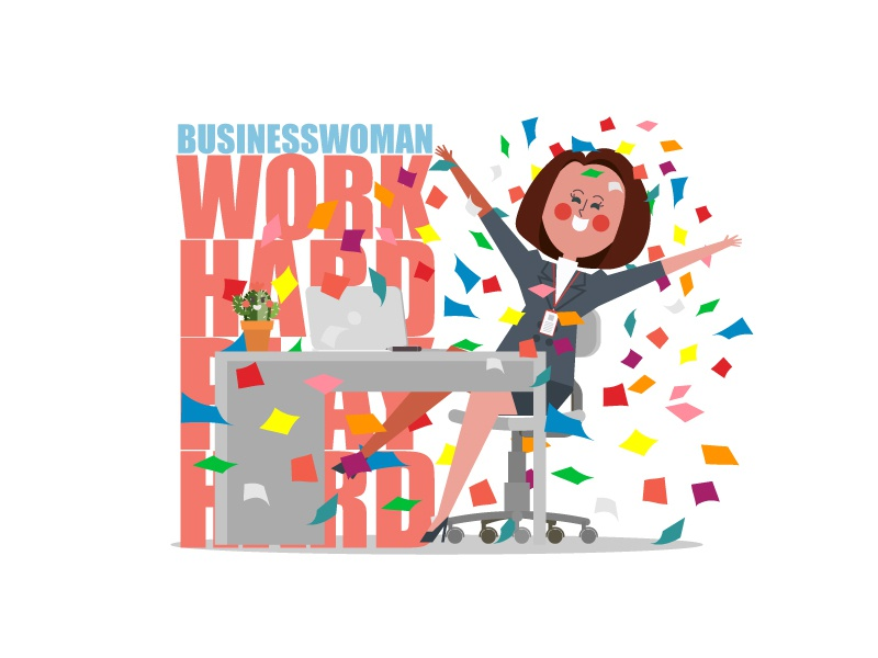 Work hard Play hard cartoon illustration smile relax happy office work girl woman business