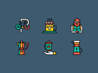 Coffee Shop Color Line icons