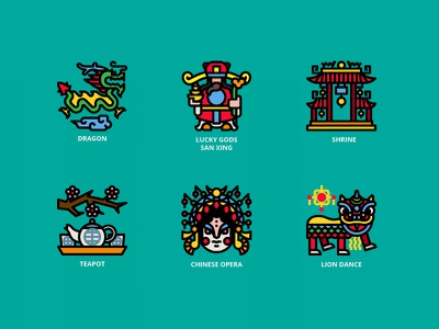 Chinese Traditional chinese new year chinese culture china lion head dragon chinese illustration icon
