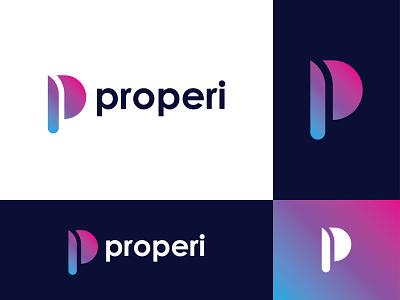 P for Properi - Logo Design concept design website apps p letter properi p symbol gradient monogram logomaker logomark logodesigner logo design logo letter mark icon branding and identity branding alphabet
