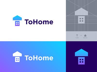 ToHome - Logo negative space application app logo designer t house visual identity logotype logodesign icon agency t home t tohome home house mark logo real estate identity branding