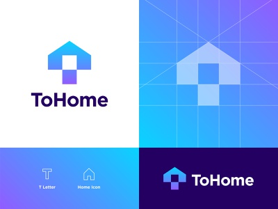 ToHome Logo Design smart logo visual identity tohome t house t home house home simple clean imterface mark symbol negative space logo logo maker logo designer logo design branding and identity typography logotype lettering letter t application app