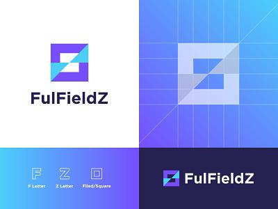 FulFieldZ - Logo Deisgn f logo fz fulfieldz flogo f square symbol logotype smart logo negative space grid logo logo maker logo designer logo design logo icon alphabet identity design branding apps