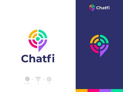 Chatfi Logo Design smart conversation connection chatfi wifichat wifi web website minimalistic logo colors colorful communication chatting talk speak bubble chat logo brand identity app logo branding