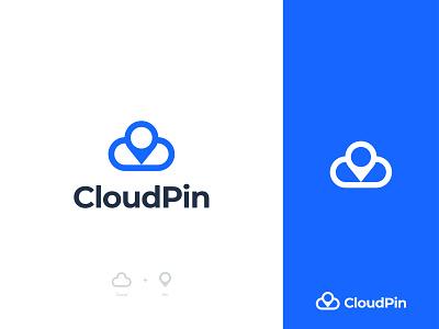 CloudPin Logo monogram smart minimal cloudpin connect app icon icons local blue cloud logo pin logo identity pin modern logo creative logo concept branding flat logo location application