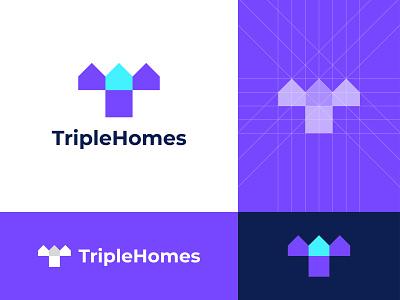 TripleHomes Logo agency website real estate negative space logo smart modern home logo triple house home logo mark symbol logo designer design logo icon connect concept branding brand identity application app